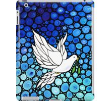 Peacefull Journey - White Dove Print Blue Mosaic Art iPad Case/Skin