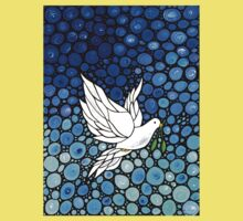 Peacefull Journey - White Dove Print Blue Mosaic Art Kids Clothes