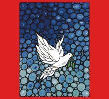 Peacefull Journey - White Dove Print Blue Mosaic Art Kids Tee