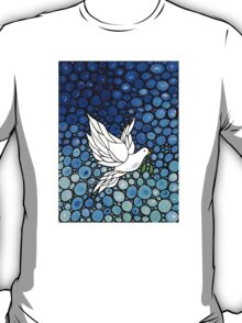 Peacefull Journey - White Dove Print Blue Mosaic Art T-Shirt