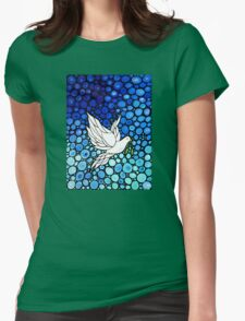 Peacefull Journey - White Dove Print Blue Mosaic Art Womens Fitted T-Shirt