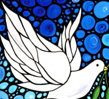 Peacefull Journey - White Dove Print Blue Mosaic Art Sticker
