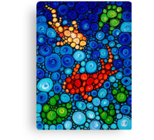 Pure Koi Joi - Colorful Koi Pond Print Blue Orange Fish Art Canvas Print