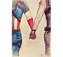 Stucky ~ Captain America and Bucky Barnes Holding Hands  Photographic Print
