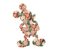 Red Floral Mickey Photographic Print