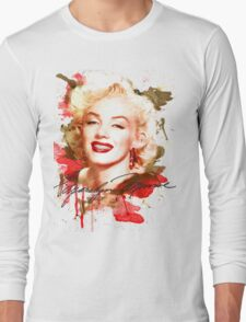 Marilyn Monroe watercolor signature Long Sleeve T-Shirt
