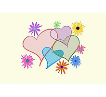 Hearts and Flowers Photographic Print