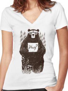 Free Bear Hugs Women's Fitted V-Neck T-Shirt