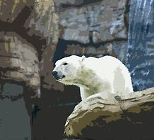 Stylized photo of polar bear on rocky ridge with waterfall. by NaturaLight