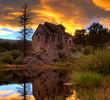 Sunset over St Malo Chapel near Estes Park, CO by Jeanne Frasse