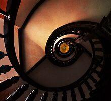 Brown wooden spiral staircase by JBlaminsky