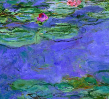 1914-1919 Water lilies, Red, oil on canvas. Claude Monet Sticker