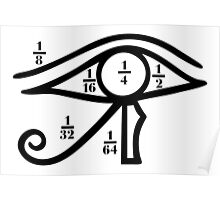 Eye of Horus, Heqat, Fractional Numbers, Egypt Poster