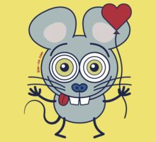 Funny gray mouse holding a heart balloon and feeling in love Baby Tee