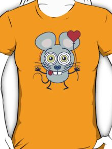 Funny gray mouse holding a heart balloon and feeling in love T-Shirt