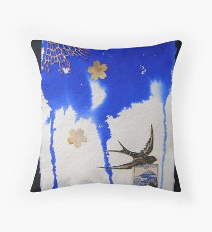 Descending blue Throw Pillow