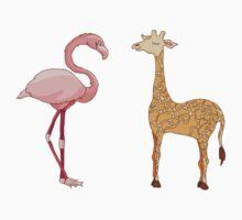 flamingo bird and giraffe by lisenok