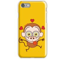 Funny brown monkey feeling crazy in love iPhone Case/Skin
