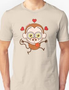 Funny brown monkey feeling crazy in love Unisex T-Shirt