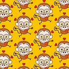 Funny brown monkey feeling crazy in love by Zoo-co