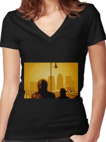 London Docklands The City - Peter Burke Women's Fitted V-Neck T-Shirt