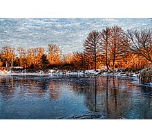 Cold Ice, Warm Light – Lake Ontario Impressions Photographic Print