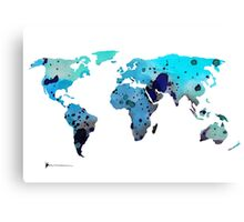 World map silhouette art print watercolor painting Canvas Print