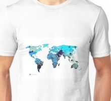 World map silhouette art print watercolor painting Unisex T-Shirt