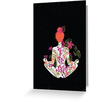 flower meditation in pink and purple Greeting Card