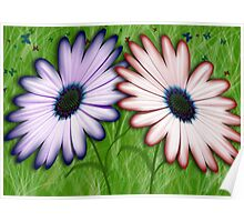 Red & Purple Flowers surrounded by Butterflies Poster