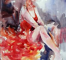 Ballet Dancer in Red Dress - Dance Art Gallery by Ballet Dance-Artist