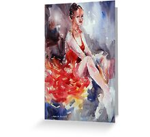 Ballet Dancer in Red Dress - Dance Art Gallery Greeting Card