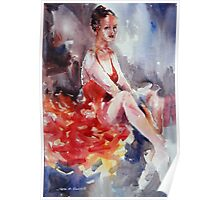 Ballet Dancer in Red Dress - Dance Art Gallery Poster