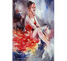 Ballet Dancer in Red Dress - Dance Art Gallery Photographic Print