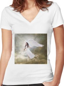 In the arms of the Angel Women's Fitted V-Neck T-Shirt