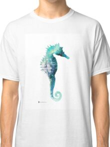 Blue seahorse watercolor art print painting Classic T-Shirt