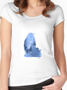 Penguins silhouette art print watercolor painting Women's Fitted Scoop T-Shirt