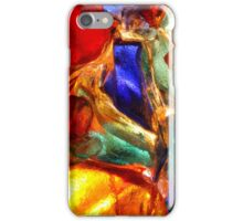 Closeup of back lit stained abstract glass pattern iPhone Case/Skin