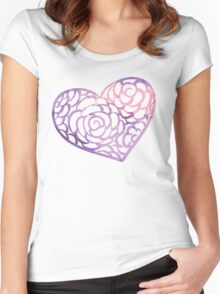 Heart from paper Valentines day card vector background Women's Fitted Scoop T-Shirt
