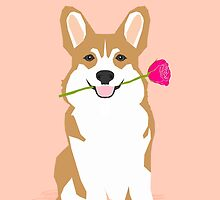 Valentines - Corgi with Rose - Love, Cute Corgi for Corgi Owners, Trendy Girls Love, Valentines Day by PetFriendly