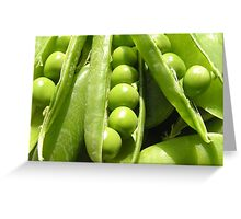 Fresh open green pea pods in sunlight Greeting Card