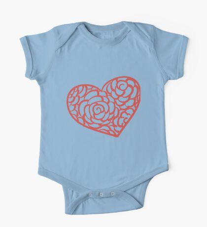 Heart from paper Valentines day card vector background One Piece - Short Sleeve