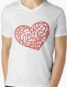 Heart from paper Valentines day card vector background Mens V-Neck T-Shirt