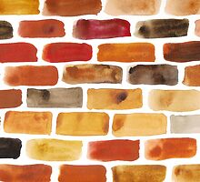 Brick wall - watercolour painting in brown, red and yellow shades by KerstinB