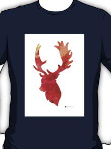 Deer antlers silhouette art print watercolor painting T-Shirt