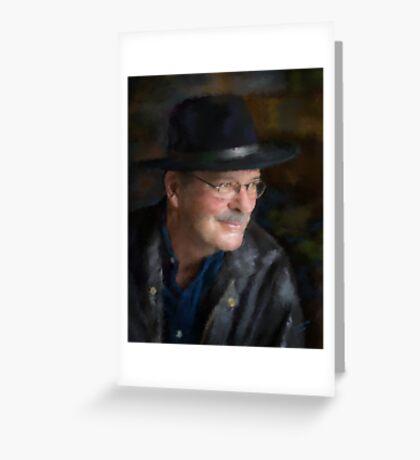 Black Hat Portrait Greeting Card