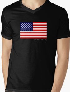 democracy flag black Mens V-Neck T-Shirt
