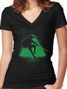 Silhouette Green Women's Fitted V-Neck T-Shirt