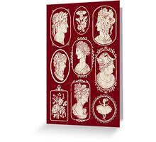 Cameos - red Greeting Card