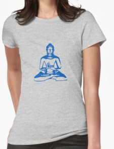 Buddha (Blue Print) Womens Fitted T-Shirt